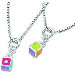 0.01 Cts  SI2 - I1 clarity and I-J color Diamond Resin Cube Childrens Pendant in Sterling Silver