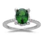 0.56 Cts Diamond & 1.86 Cts Chrome AAA Tourmaline Ring in 14K White Gold