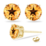 Round Citrine Stud Earrings in 14K Yellow Gold