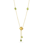 2.00 Cts Citrine & 2.70 Cts Peridot Necklace in 14K Yellow Gold