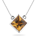 1.70 Cts of 7 mm AA Princess Citrine Solitaire Pendant in 14K White Gold