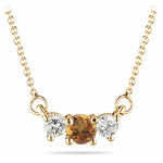 0.43 Cts Diamond &  Citrine Three Stone Pendant in 18K Yellow Gold