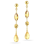 3.28 Cts Citrine Drop Earrings in 14K Yellow Gold
