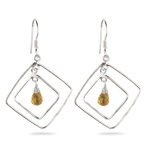 Citrine Briolette Double-Wire Kite-Shaped Earrings in Sterling Silver