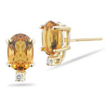 0.02 Cts Diamond & 1.60 Cts of 7x5 mm AA Oval Citrine Stud Earrings in 14K Yellow Gold