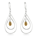 Citrine Briolette Double-Wire Drop-Shaped Earrings in Sterling Silver