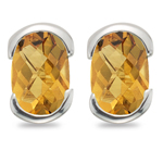 1.45 Cts of 7x5 mm AA Oval-checkered Citrine Stud Earrings in 14K White Gold