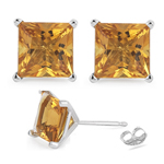 Princess Cut Citrine Stud Earrings in 14K White Gold