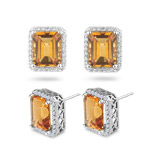 0.42 Cts Diamond & 6.00 Cts Citrine Earrings in 14K White Gold