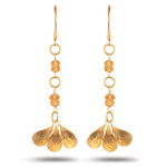 7.60 Cts Citrine Earrings in 18K Yellow Gold