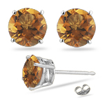 0.85 Cts of 5 mm AA Round Citrine Stud Earrings in 14K White Gold