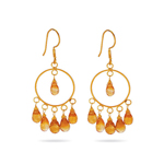 18K Gold Citrine Briolette (7.25 Cts) Circle Earrings