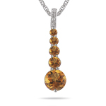 0.02 Cts Diamond & 1.25 Cts Citrine Journey Pendant in 14K White Gold - Christmas Sale