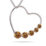 0.30-0.50 Cts AA Round Citrine Journey Heart Pendant in 14K White Gold - Christmas Sale