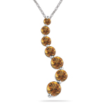 1.00 Ct AA Round Citrine Journey Pendant in 14K White Gold