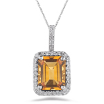1/4 Cts Diamond & 3.00 Cts Citrine Pendant in 14K White Gold