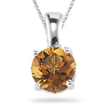 0.63-0.68 Cts of 6 mm AA Round Citrine Solitaire Pendant in 14K White Gold