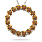 4.21-4.27 Cts Citrine Circle Pendant in 14K White Gold