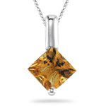 0.34 Cts of 4 mm AA Princess Citrine Solitaire Pendant in 14K White Gold