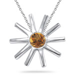 0.20 Ct 4 mm AA Round Citrine Solitaire Star-shaped Pendant in Silver - Christmas Sale