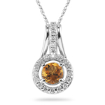 0.33 Ct Diamond & 0.70 Cts Citrine Pendant in 14K White Gold