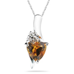 0.02 Cts Diamond & 0.67 Cts Citrine Pendant in 14K White Gold. - Christmas Sale