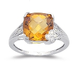 Citrine Ring - 0.08 Ct Diamond & Citrine Ring in 14K Gold