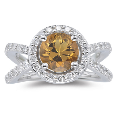 0.94 Cts Diamond & 1.60 Cts Citrine Ring in 14K White Gold