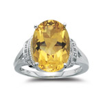 0.03 Cts Diamond & 5.94 Cts Citrine Ring in 14K White Gold