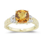 0.04 Ct Diamond & 2.00 Cts AAA Citrine Ring in 14K Yellow Gold