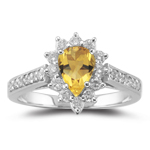 0.44 Ct Diamond & 0.65 Cts Citrine Ring in 18K White Gold