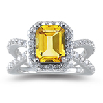0.63 Ct Diamond & 1.15 Cts AAA Citrine Ring in 14K White Gold