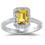 0.26 Cts Diamond & 1.00 Ct Citrine Ring in 18K White Gold