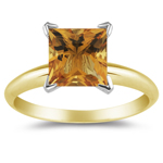 2.12 Cts Citrine Solitaire Ring in 14K Yellow Gold