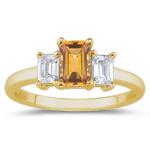 0.33 Cts Diamond & 5.14 Cts Citrine Three Stone Ring in 14K Yellow Gold