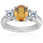 0.10 Cts Diamond & 1.52 Cts Citrine Classic Three Stone Ring in 18K White Gold