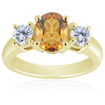 0.10 Cts Diamond & 0.99 Cts Citrine Classic Three Stone Ring in 18K Yellow Gold