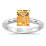 1.50 Cts of 8x6 mm Emerald Cut Citrine Solitaire Scroll Ring in 14K White Gold