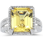 0.42 Cts Diamond & 5.80 Cts Yellow Beryl Ring in 14K White Gold