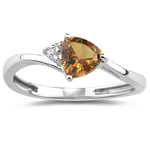 0.02 Cts Diamond & 0.67 Cts Citrine Ring in 14K White Gold