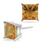6.80 Cts of 9 mm AA Princess Citrine Stud Earrings in 18K White Gold
