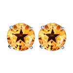 9 mm AA Texas Star Citrine Stud Earrings in 14K White Gold