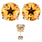 7.00 Cts of 10 mm AA Texas Star Citrine Stud Earrings in 14K Yellow Gold
