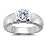 Engagement Ring Setting - Platinum Semi Bezel Setting