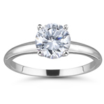 3/4 Ct Ideal Cut Four Prong Diamond Engagement Ring in 18K White Gold (H/VS2)