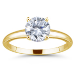 3/4 Ct Ideal Cut Four Prong F/VS2 Diamond Engagement Ring in 18KY Gold