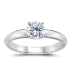 1/4 Cts of 4.1 mm Round Four Prong Diamond Engagement Ring in Platinum