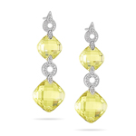 0.20 Cts Diamond & 38.20 Cts AA Cushion Lemon Citrine Earrings