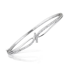 0.85-0.90 Cts  SI2 - I1 clarity and I-J color Diamond Bangle in 18K White Gold