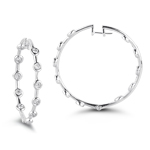 0.60-0.65 Cts  SI2 - I1 clarity and I-J color Diamond Hoop Earrings in 14K White Gold